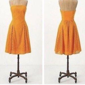 Anthropologie Maeve Dress Strapless Orange eyelet